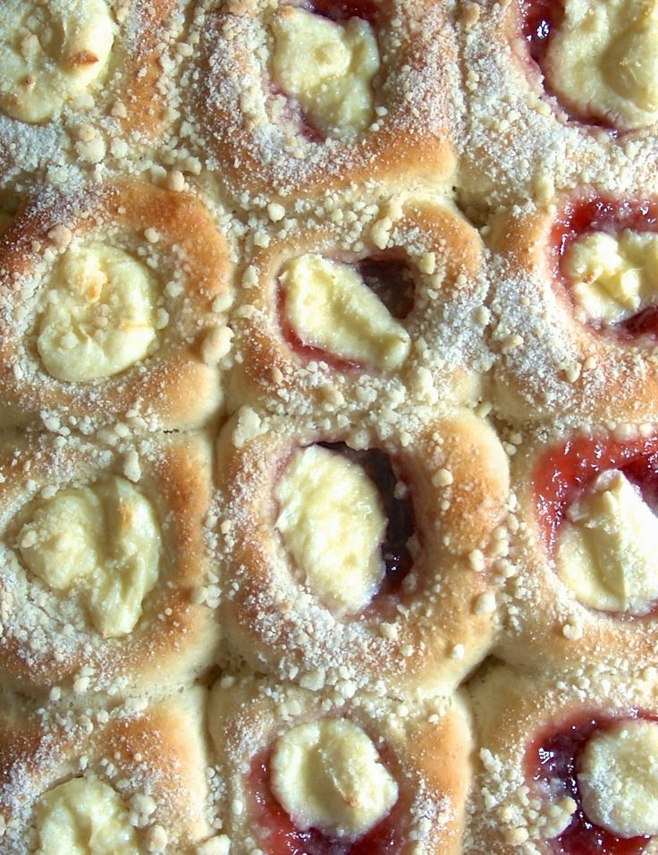 Kolaches - sweet rolls filled with cream cheese and fruit