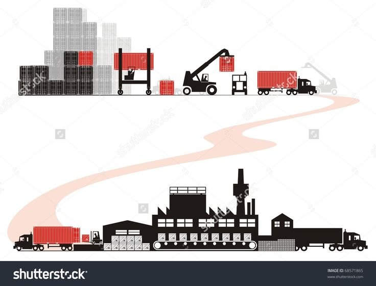 Empty container loading - Supply chain vector illustration set (Part One - from empty container