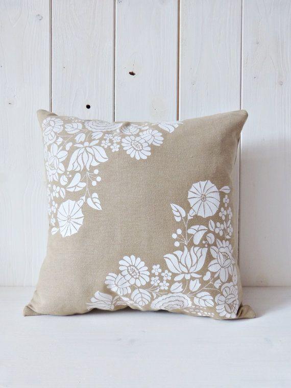 Flowers of Kalocsa handmade screen printed cushion by FolkAffair, $22.00