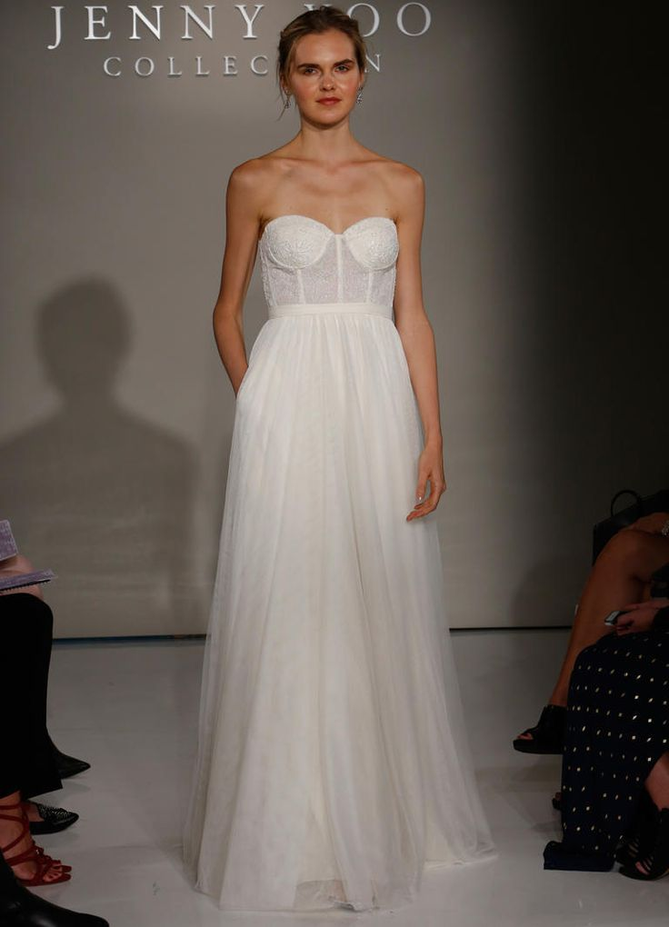 Jenny Yoo Fall 2016 strapless wedding dress with corset bodice and flowing skirt | https://www.theknot.com/content/jenny-yoo-wedding-dresses-bridal-fashion-week-2016