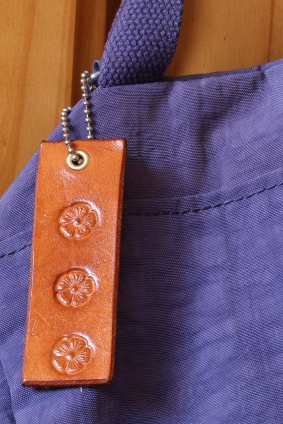 Handmade Leather Floral Bag Charm by Tina's Leather Crafts on Etsy.com.  Repin To Remember.