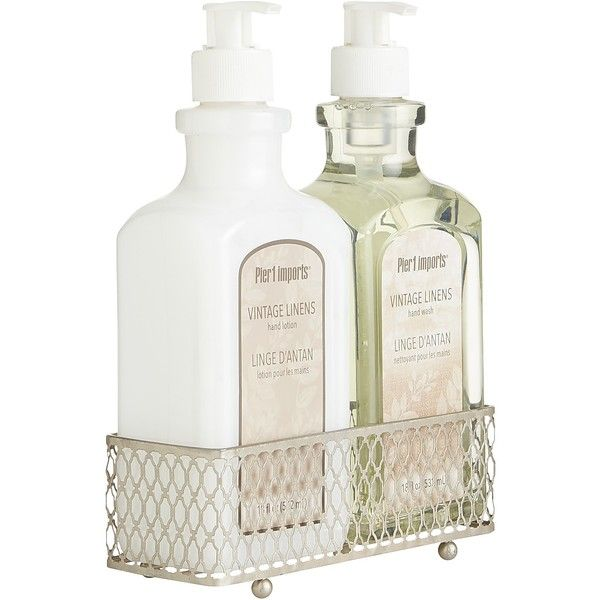 pier 1 imports gray vintage linens soap lotion caddy 1150 rub liked on polyvore featuring home bed bath bath bath accessories home decor