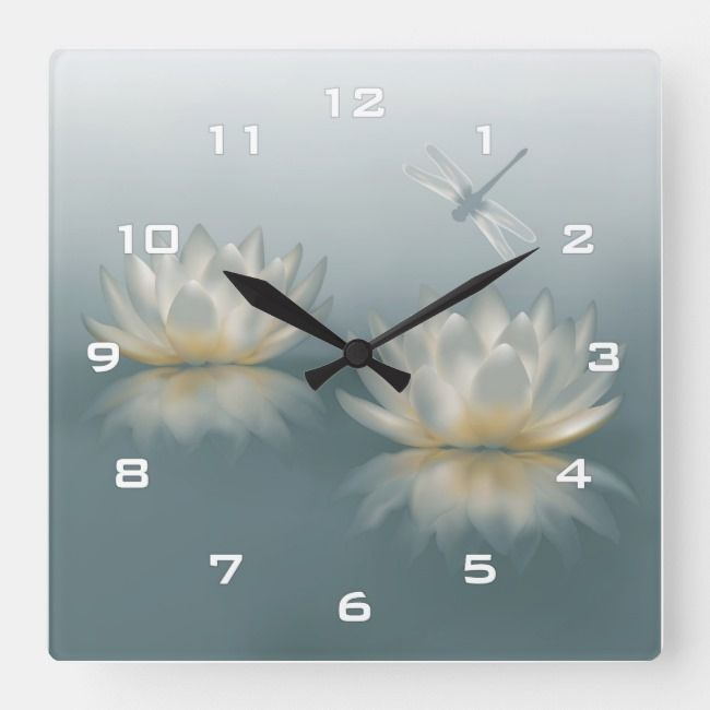 Lotus And Dragonfly Wall Clock Zazzle Com With Images Wall