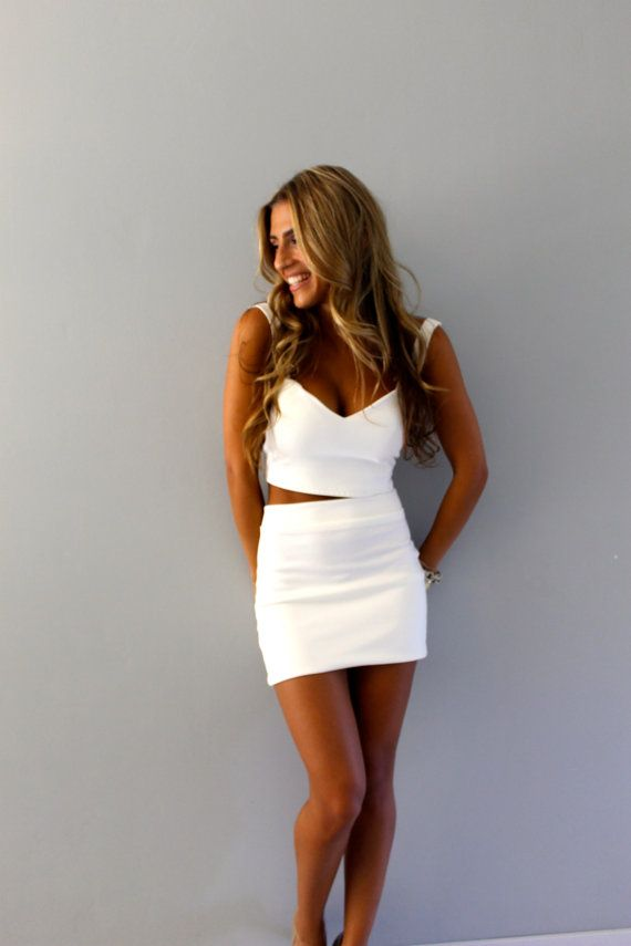 Two piece crop top and skirt set by Batel Boutique | crop top set | white dress | black dress | dress