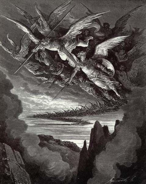 """Gustave Doré - """"Innombrables étaient ces mauvais Anges, planant de leurs ailes, sous la chape de l'Enfer"""" (1868) - Le Paradis perdu (Paradise Lost) est un poème épique écrit par le poète anglais John Milton en 1667. Le poème traite de la vision chrétienne de l'origine de l'Homme, en évoquant la tentation d'Adam & Ève par Satan, puis leur expulsion du Jardin d'Éden."""