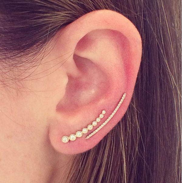EFC Diamond Curved Bar Ear Cuff seen with Mini Diamond Bezel Ear Cuff