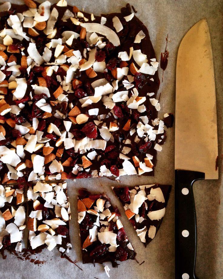 coconut, almond & cranberries chocolate bark