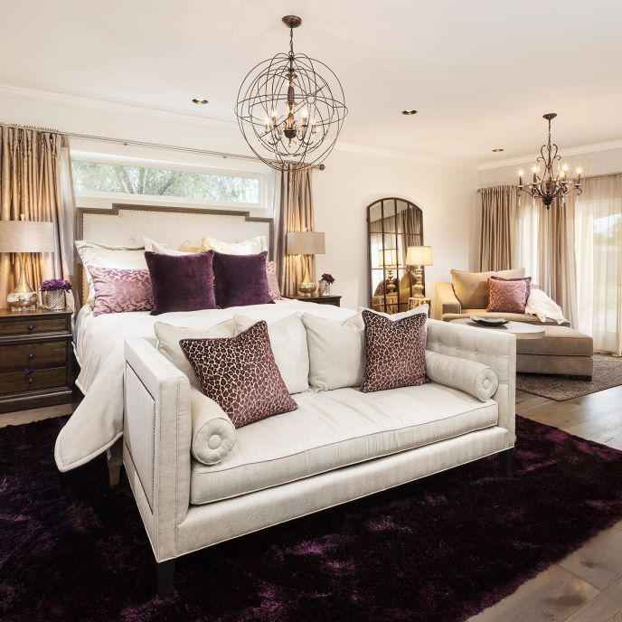 Rustic Glam Master Suite | ProSource Wholesale    Project includes: New French wood floors, clerestory window, French patio doors, recessed lighting, decorative lighting, fireplace feature wall and all custom bedding, furniture, dog bed, accessories and finishing touches designed by LMOH Interiors.