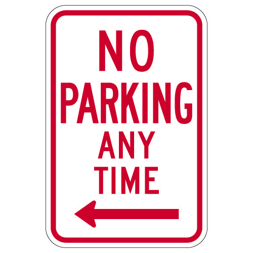R7-1 Federal No Parking Any Time Signs with Left Arrow - 12x18