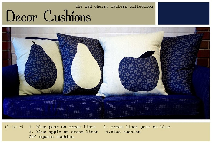 Apple and pear cushions on linen or blue floral. - by redcherrypatternco on madeit