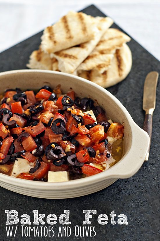 Baked Feta with Olive and Tomatoes | heatherlikesfood.com Quite possibly one of the world easiest and most impressive appetizers. #recipe #dip #feta