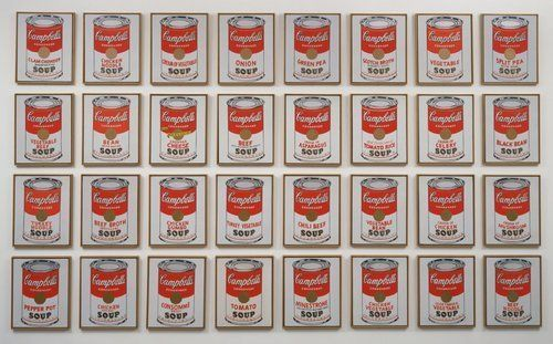 Campbell's Soup Cans by Andy Warhol, 1962. Synthetic polymer paint on thirty-two canvases