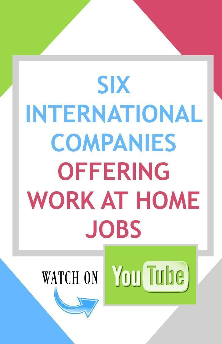 6 International Companies Offering Work at Home Jobs - Watch on #YouTube! youtube.com/c/dhbwfans