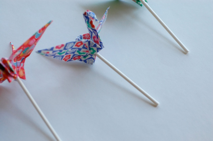 Origami Crane Cupcake Toppers, Baby Shower decorations, Japanese Peace Cranes, Festival pack, multicolor, pack of 12, Party Decorations. $10.00, via Etsy.
