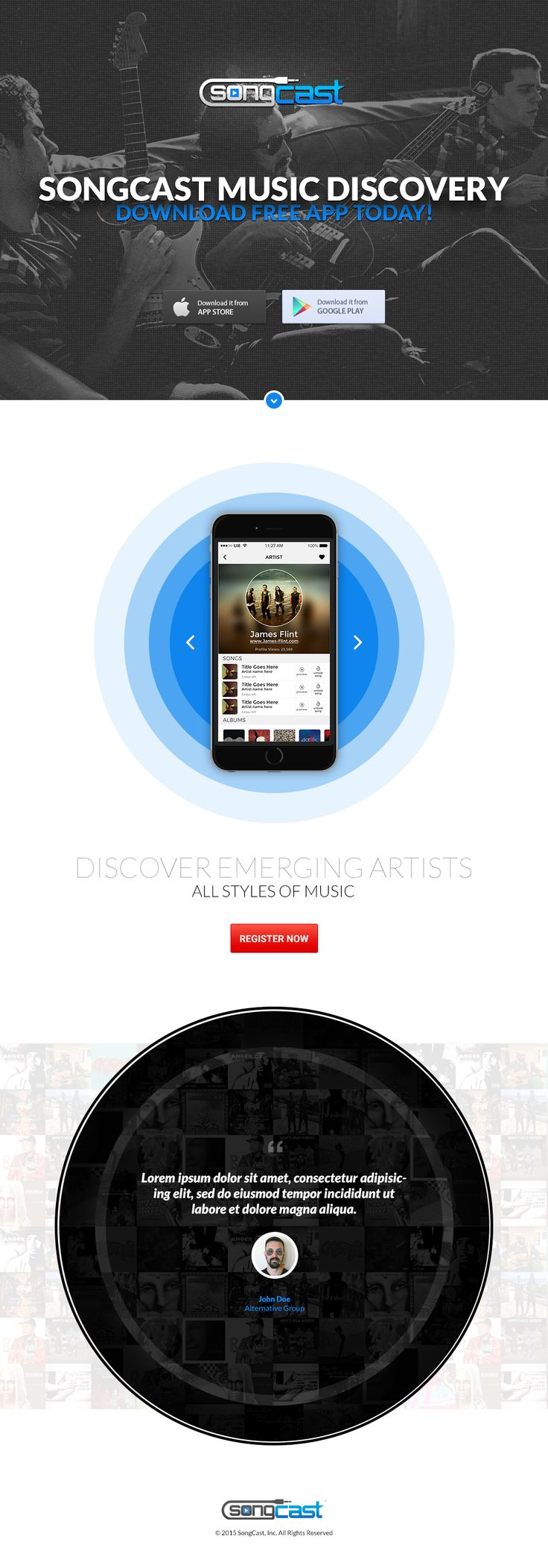 SongCast is a unique platform for music consumers to discover up and coming, emerging artists