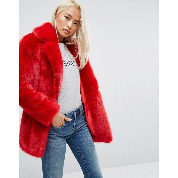 Jakke Mid Length Faux Fur Coat (€190) ❤ liked on Polyvore featuring outerwear, coats, red, leather-sleeve coats, midi coat, animal print faux fur coat, faux fur coat and jakke