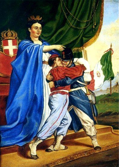 Allegoria dell'Italia unita, stampa del XIX sec. Garibaldini e truppe regolari si trovano sotto l'egida della patria nella concordia dell'unificazione dell'Italia