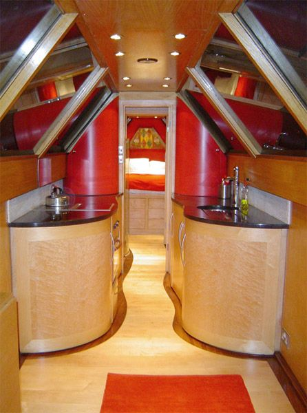 Contemporary interior in traditional narrow boat