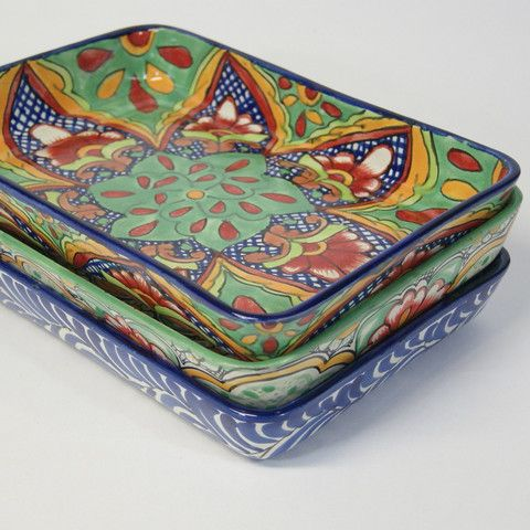 These beautiful talavera 9 by 13 baking pans are perfect for enchiladas, casseroles or lasagna! The ceramic bake ware is food safe, can go in the oven and microwave and is lovely for bake and serve dishes. Three designs available currently. One of each design available. state of origin: Guanajuato