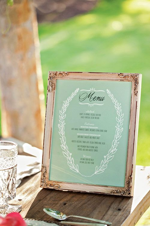 Like the idea of the menu in frame, maybe 1 per table? love the color and rustic look of frame.