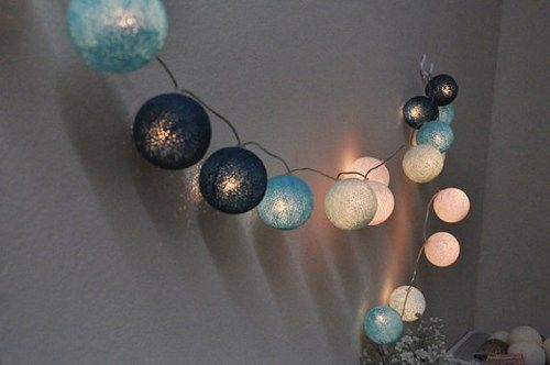 20 Sweet blue tone cotton ball string lights Assembled set