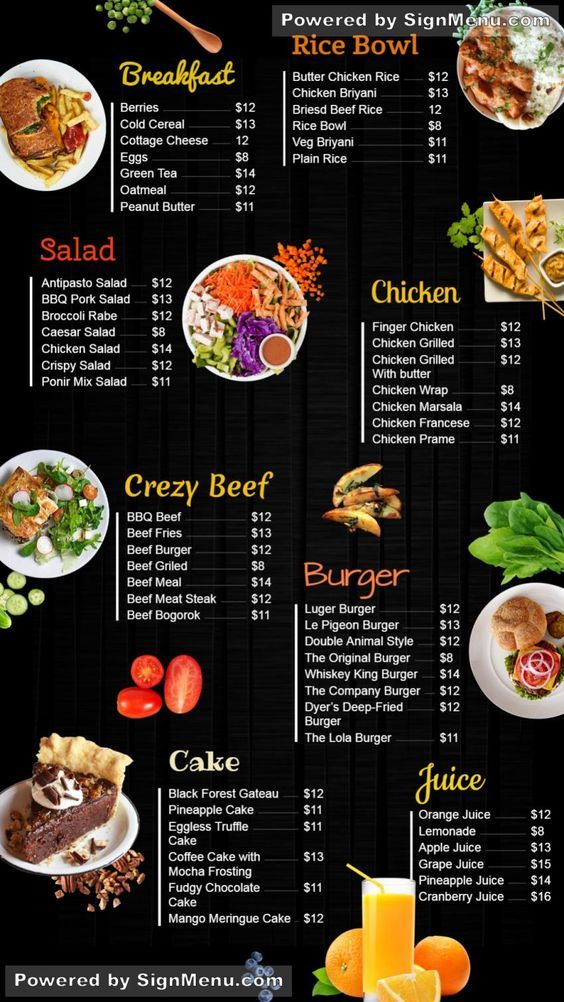 complete  digitalsignage menu boards  design for