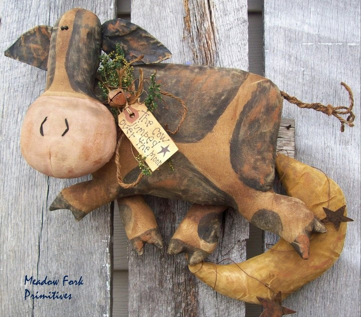 Cow Jumped Over the Moon. Original Meadow Fork Primitives design.