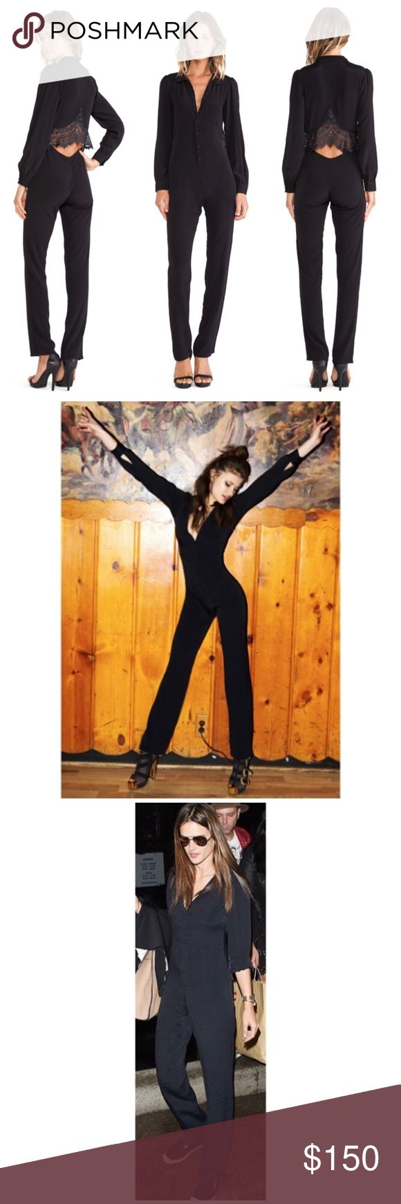For love and lemons bourbon jumpsuit Rayon crêpe black jumpsuit with lace detail at back… Button up front and wrists.. front can be  buttoned all the way up or V-neck like pictured. Runs a little small in my opinion so best for true extra small or extra extra small. Semi cropped hits at ankle or just above so perfect for someone petite! For Love and Lemons Pants Jumpsuits & Rompers