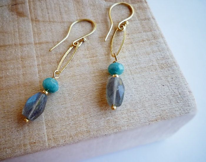 Gold Plated Sterling Silver Oval Labradorite Earrings - Earrings 328 and 329 of 365 for EAD2015 by Maria Apostolou on Etsy