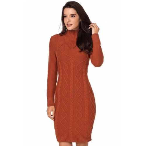 Black Cable Knit High Neck Sweater Dress Orange Apricot Sweater