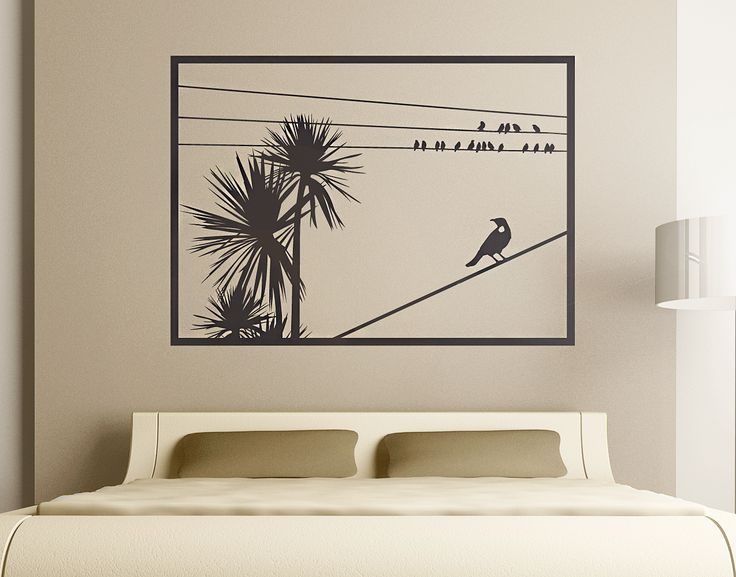 New Zealand Cabbage Tree with Tui Window Wall Decal