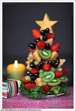 Christmas food - Fruit Christmas tree- my sister makes these with antipasto ingredients- rolling up meats and cheeses w/olives, etc., if you can only find a white styrofoam cone, you can cover it with leaf lettuce first.  I might try one for a church party...