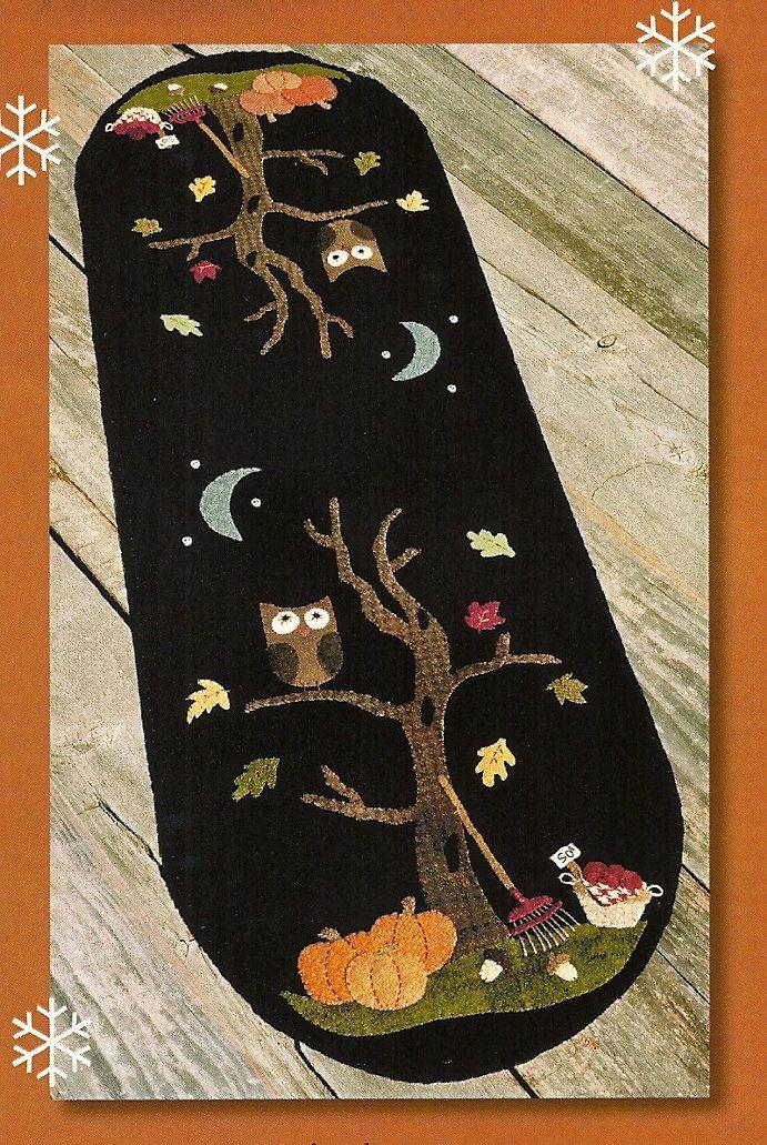 SALE -- Primitive Folk Art Wool Applique Pattern: An AUTUMN MOOD. $6.00, via Etsy.