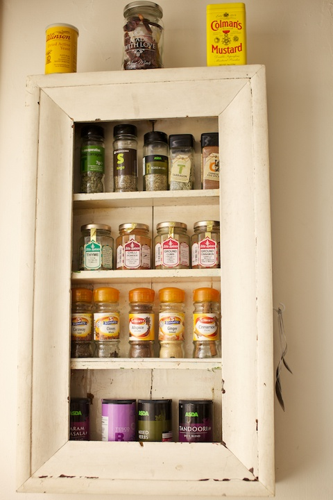 Shabby chic, country cottage farm style kitchen, spice rack, made from a reclaimed old shelving unit, washed down to reveal this, this is now one of my favourite things in the whole house!