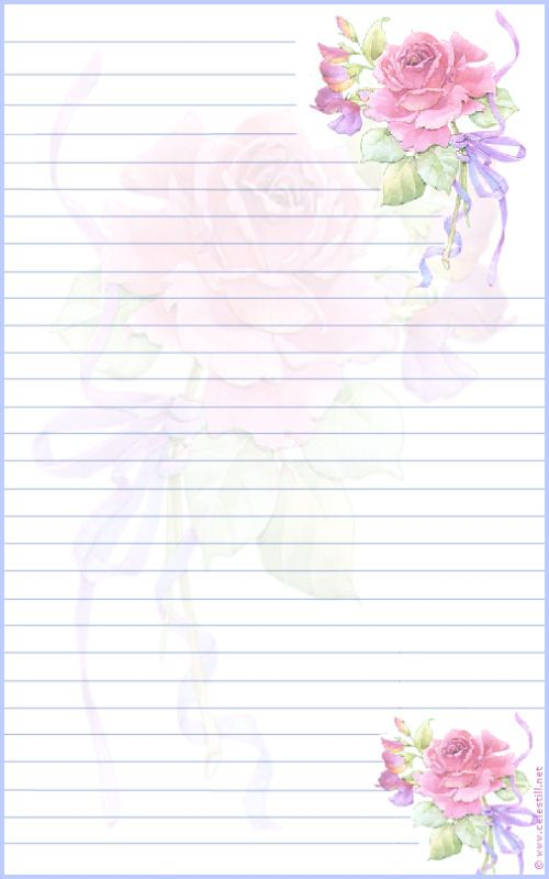 Papier à lettre imprimable Rose