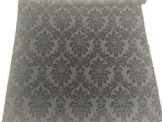 Black self patterned taffeta fabric velvet by TheFabricShopUK