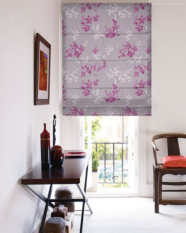 Tissu Fancy Garden Grappes Parme Roman Blinds