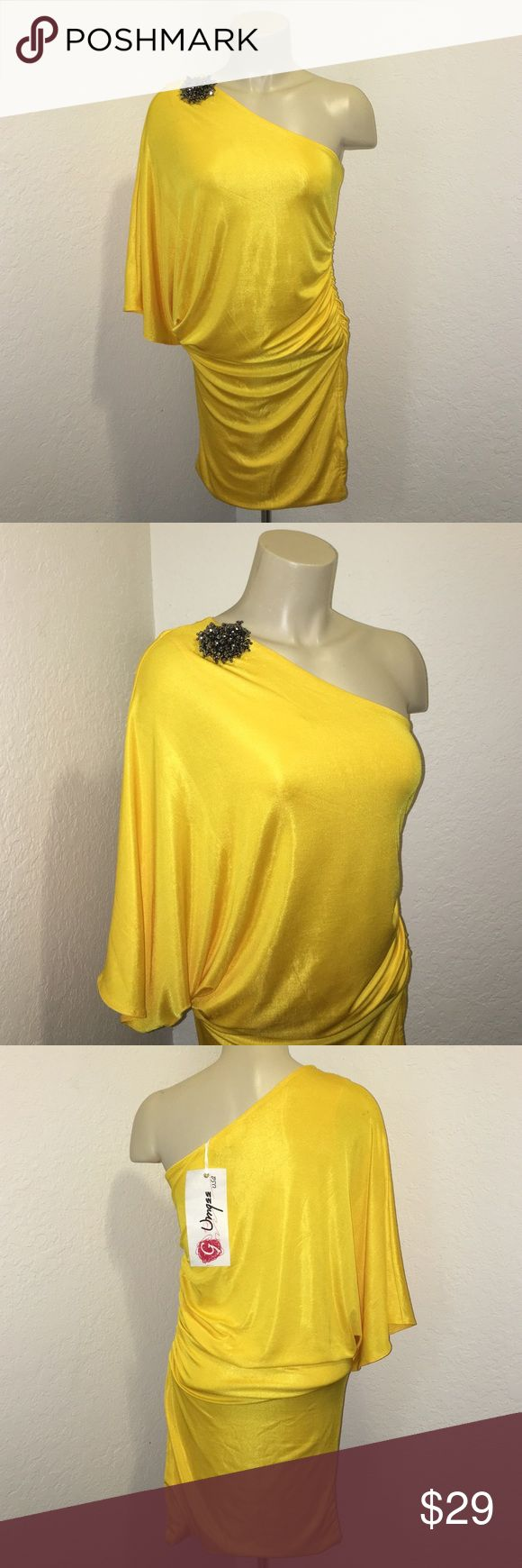 Yellow Jeweled One Shoulder Party Dress Beautiful Yellow One shoulder slouchy top right bottom mini party dress. Available in a variety of sizes. Gorgeous on and perfect for all occasions. Brand: Umgee Umgee Dresses Mini
