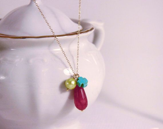 Cherry drop Agate lime freshwater pearl by anypearljewelry on Etsy,