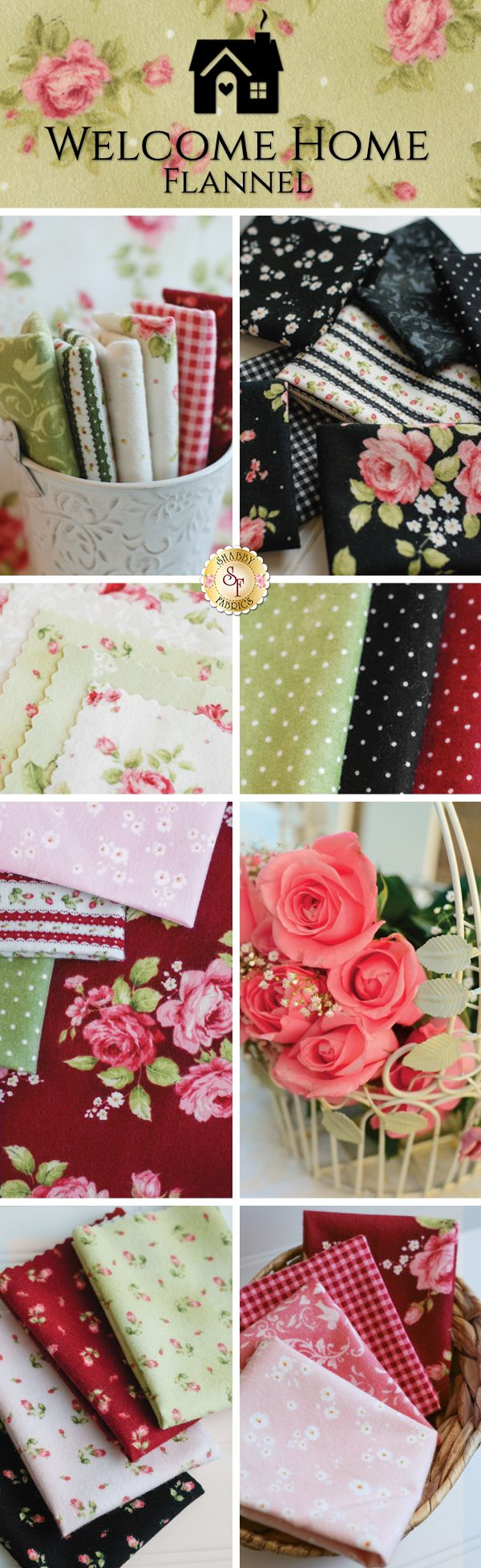 Welcome Home Flannel is a beautiful floral flannel collection by Jennifer Bosworth for Shabby Fabrics manufactured by Maywood Studio!