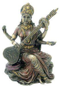 Hindu goddess Saraswati statue playing music. Make her a part of your home.