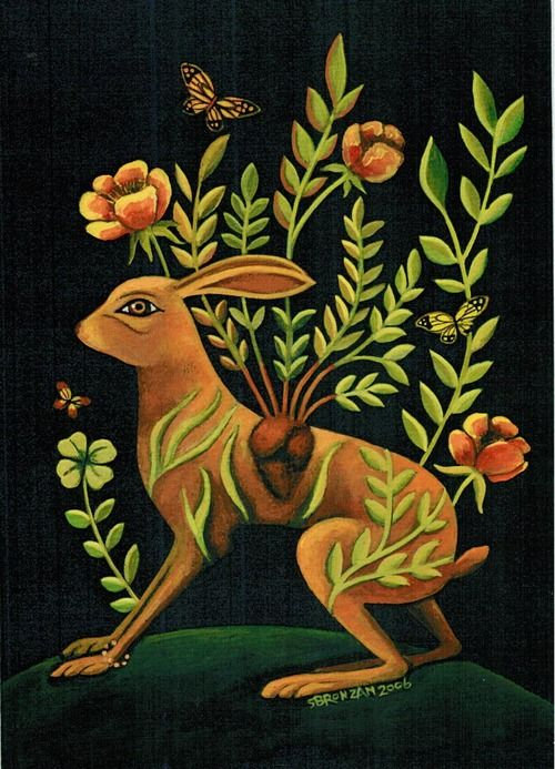 illustration, animal, rabbit, heart, floral, flower, naive. fantasy. Sharon Bronzan