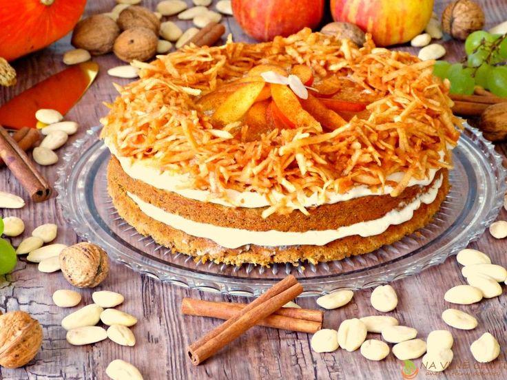 Dýňový ořechový dort s mandlovým tvarohem, jablíčky, nektarinkami a skořicí – Na vlně chuti – Jitčiny Dobroty