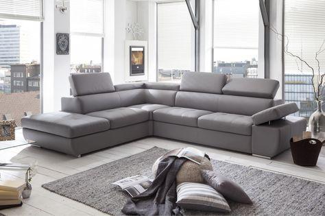 Canapé d'angle design en PU gris clair Marocco - Canapé simili moins cher - MATELPRO