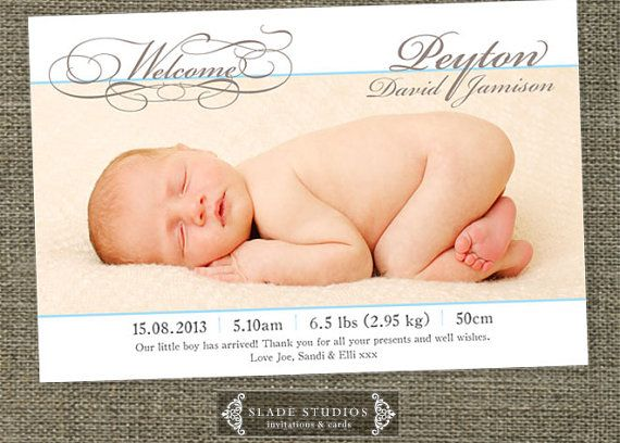 Welcome florish baby birth announcement photo by SladeStudios, $16.50