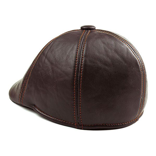 Men's Sheepskin Genuine Leather Ear Flaps Beret Caps Winter Warm Solid Cabbie Golf Hat at Banggood