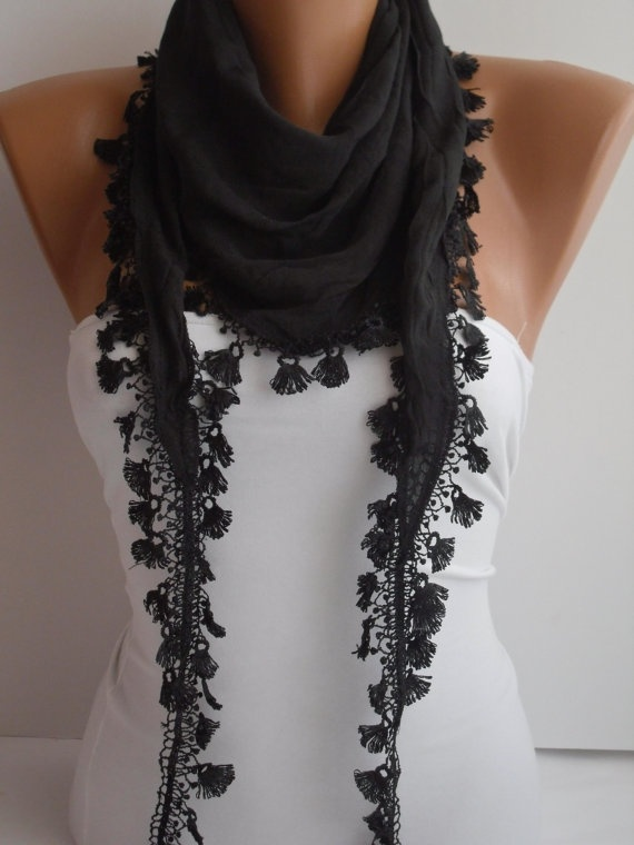 Black Shawl / Scarf  Headband  Cowl with  Lace Edge by DIDUCI, $15.00Lace Edging, Woman Fashion, Headbands Cowls, Scarves Purses Accessories, Women Apparel, 1500, Black Shawl, Scarf Headbands, 15 00