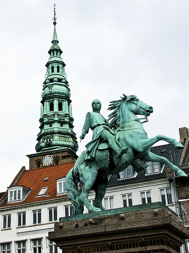 Building and statue, Copenhagen, Denmark.