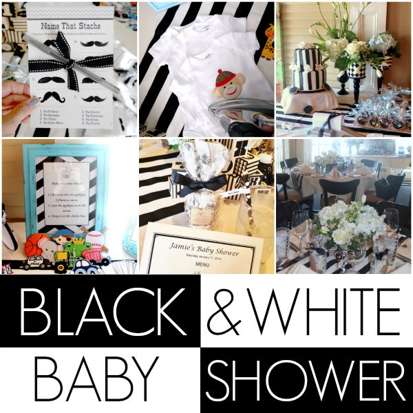 Black and white baby shower... onesie making station and all!
