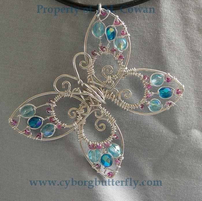 beaded wire wrap Blue Butterfly